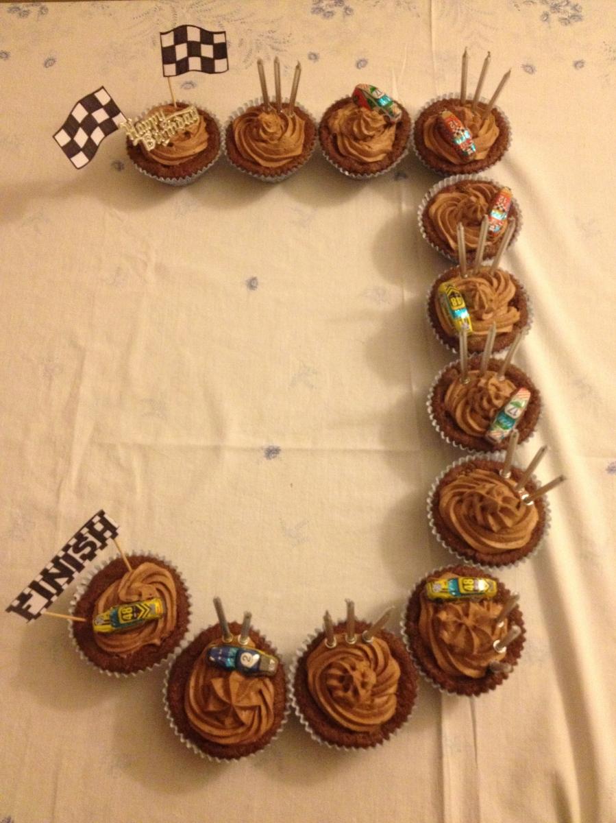 J-shape race track cake